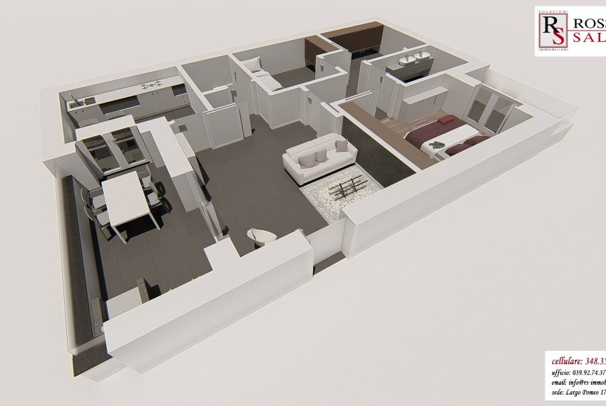 render planimetrico 3D appartamento quadrilocale 12