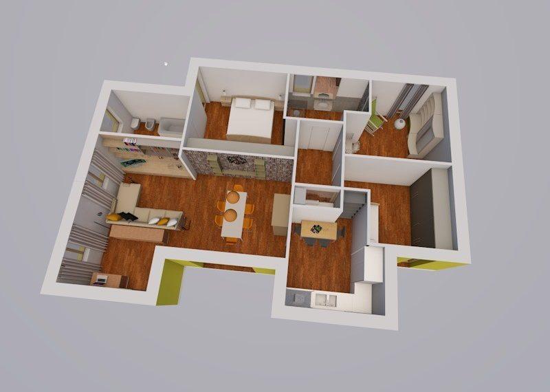 villa singola a oggiono spaccato 3D spazi interni